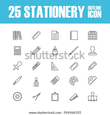 set of outline stationery icon - stock vector