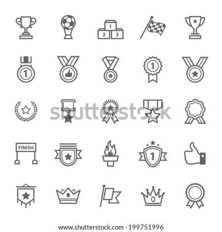 Set of Outline stroke Award and Trophy icons Vector illustration - stock vector