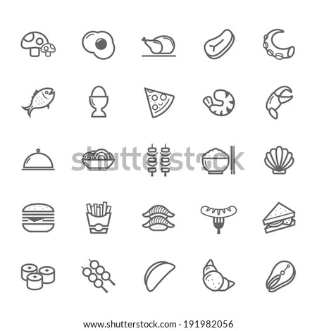 Set of Outline stroke Food icon Vector illustration - stock vector