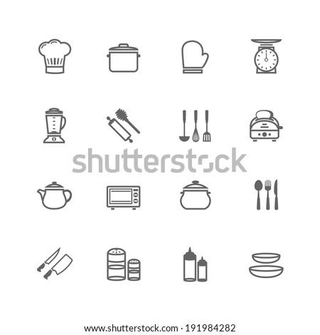 Set of Outline stroke Kitchenware icon Vector illustration - stock vector