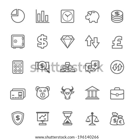 Set of Outline stroke Stock and Finance icons Vector illustration - stock vector