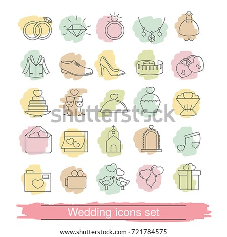 Set outline wedding icon can be stock vector 721784575 shutterstock set of outline wedding icon can be used in wedding invitation design cards stopboris Image collections