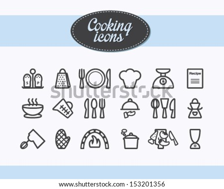 Set of outlined cooking icons - stock vector
