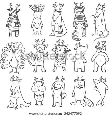Set of outlined lovely vector animals on white background. - stock vector