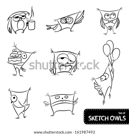 Set of owl sketch