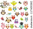 set of owls - stock photo