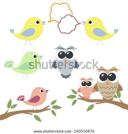 Set of owls and birds with speech bubbles - stock vector