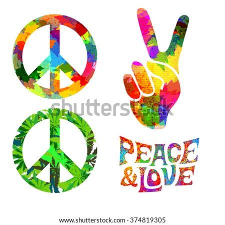 Set Pacific Hippie Symbol Words Pease Stock Vector 374819305