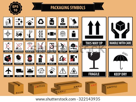 Set Packaging Symbols This Side Up Stock Photo Photo Vector