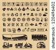 Set of packing symbols - stock photo