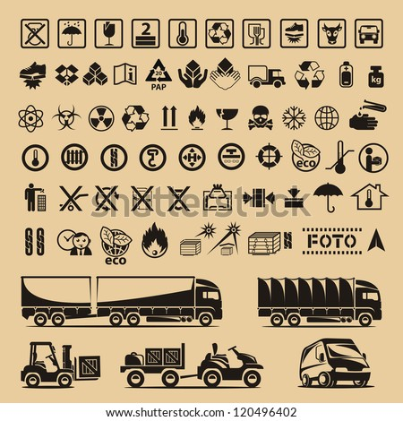 Set of packing symbols - stock vector