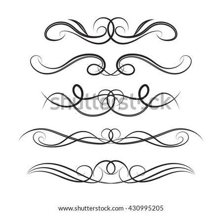 Set page decoration line drawing design stock vector 430995205 set of page decoration line drawing design wedding elements vintage dividers in black color vector stopboris Images