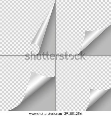 Set of Pages curl with shadow on blank sheet of paper. White paper sticker. Element for advertising and promotional message isolated on transparent background. - stock vector