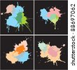 Set of Paint Splat Dots - stock vector