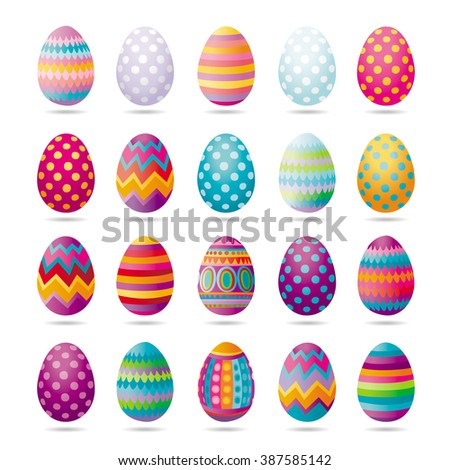 Set of painted Easter eggs for party, celebration, greeting cards and decoration for Easter  - stock vector
