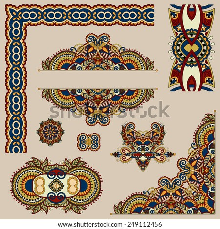set of paisley floral design elements for page decoration, frame, corner, divider, circle snowflake, stripe pattern, vector illustration in beige colour - stock vector