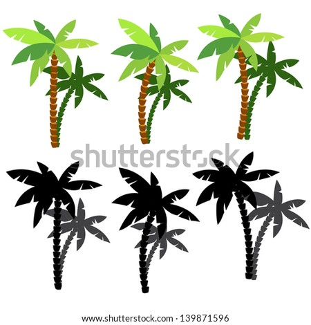 Set of palm tree silhouettes in vector - stock vector