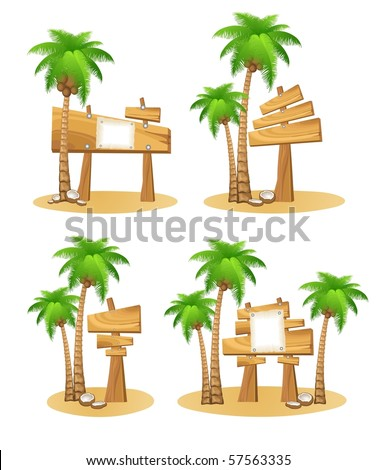 Set of palm trees and wooden sign - stock vector