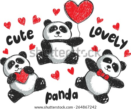 set of panda cartoon in doodle style - stock vector