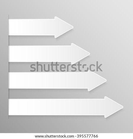 Set of paper arrows banners template for business design, infographics. Vector illustration eps10.