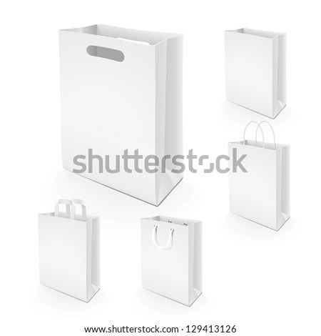 Set of paper bags. Illustration set of paper bags for branding the design layout, or use in advertising. - stock vector