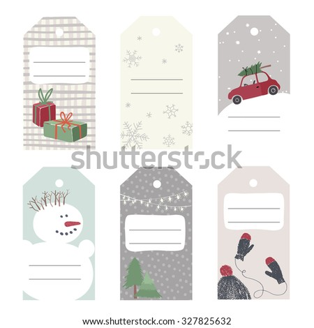 Set of 6 paper christmas gift tags. Vector illustration. - stock vector