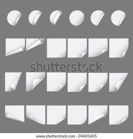 Set of paper curls - stock vector