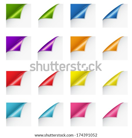 Set of paper curls in various colors - stock vector