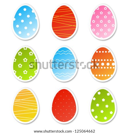 Set of paper Easter egg stickers - stock vector