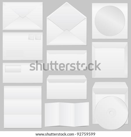 Set of paper envelopes, vector eps10 illustration (transparent shadows) - stock vector