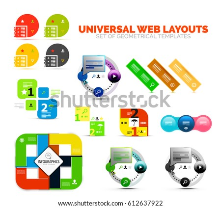 Set of paper graphics - infographic or web boxes. Geometrical design template elements with text