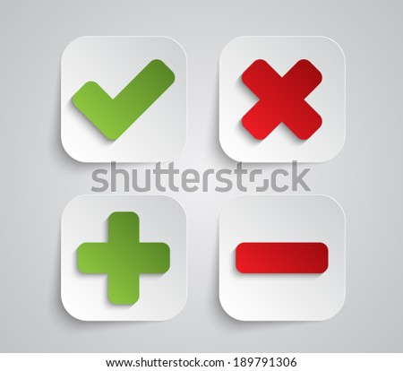 Set of paper ok and cancel buttons / icons with shadow for websites (UI) or applications (app) for smartphones or tablets - stock vector