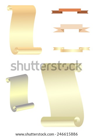 Set of paper scrolls and ribbons. Vector illustration - stock vector