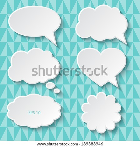 Set of paper speech bubbles, vector illustration. - stock vector