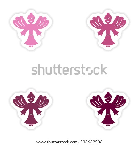 Set of paper stickers on white background Christmas Angels - stock vector