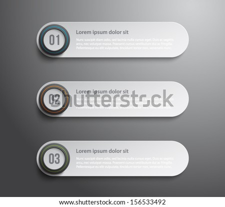 Set of paper tags banners with glossy plastic circle button for business design, infographics, reports, number options, progress, step presentation, websites or workflow layout. Clean and modern style - stock vector