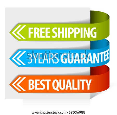 Set of paper tags for free shipping, guarantee and quality - stock vector