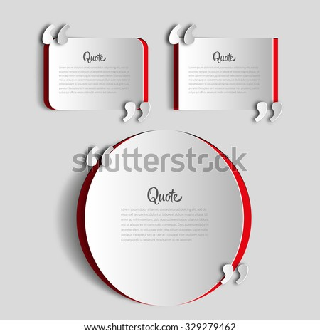 Set of papercut Quote text bubbles. place for your note, message and comment, element design template - stock vector