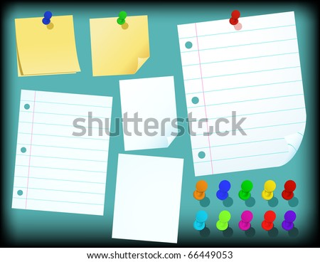 Set of Papers, push pins and yellow sticky notes - vector illustration - stock vector