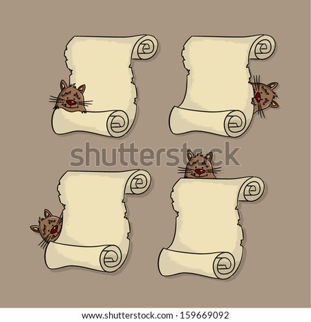 Set of parchment with cute cat (vector) - stock vector