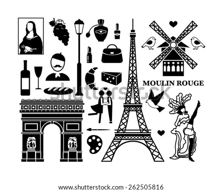 Set of Paris icons. Cosmetics and Arc de Triomphe, Moulin Rouge and Eiffel Tower. Vector illustration