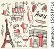 Set of Paris landmarks and icons doodle vector - stock vector