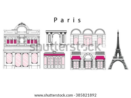 Set of paris landmarks, vector illustration - stock vector