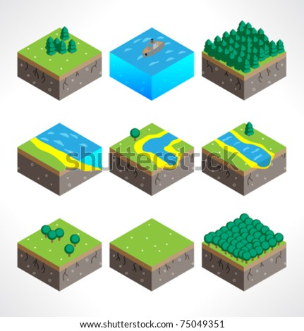 Set of Part of the map. Isometric. - stock vector