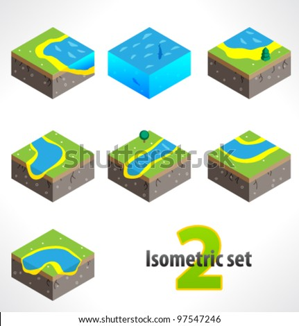 Set #2 of Part of the map. Isometric. - stock vector