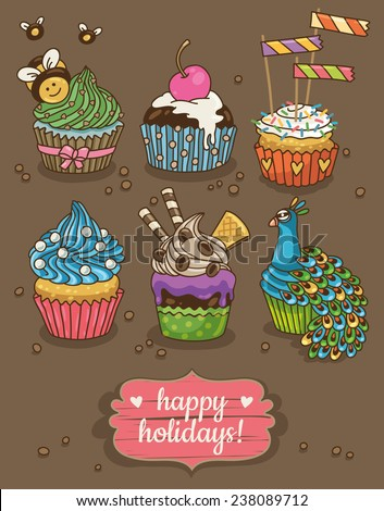 Set of party cupcakes with different toppings - stock vector