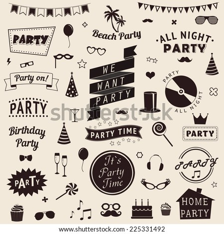 Set of party icons. Vector signs and symbols templates for your design. - stock vector