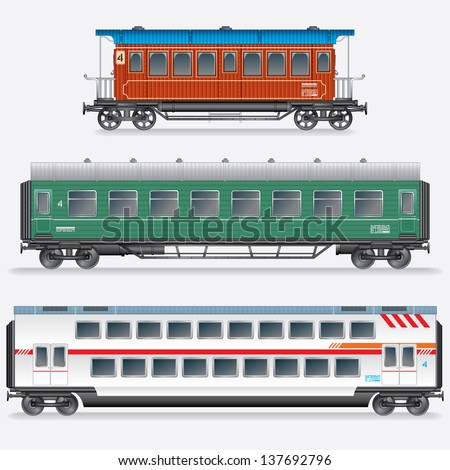 Set of Passenger Railway Waggons. Obsolete and Modern Railroad Car. Side View Vector Illustration - stock vector
