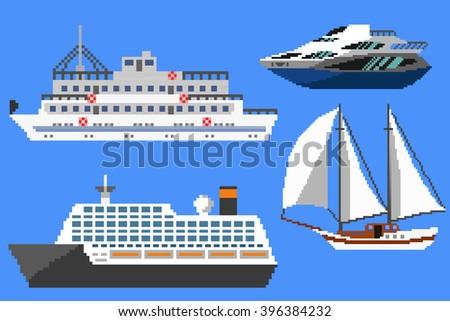 Set of passenger ships and boats. Pixel art vector illustration - stock vector