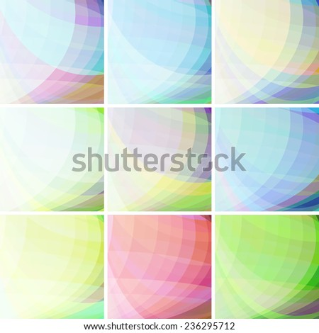 Set of pastel colorful wavy abstract backgrounds